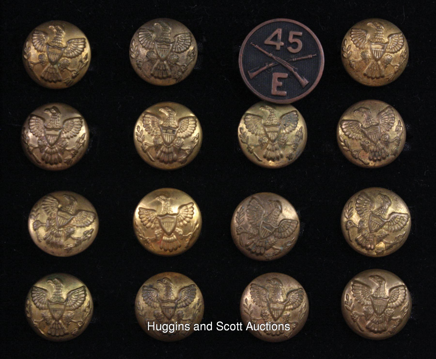 Civil War Era Military Brass Buttons Lot of (61) with Various